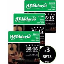 3 Sets Cuerdas D Addario Bronce Para Guitarra Acústica 009