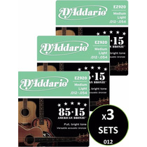 3 Sets Cuerdas D Addario Bronce Para Guitarra Acústica 012