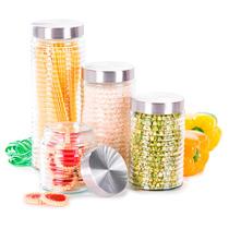 Potes Envases Para Cocina Vidrio Tapa Acero 4 Piezas Fact Le