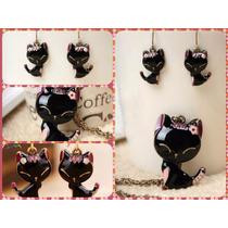 Zarcillos Collares Anillos Gato Suerte Feng Shui Accesorios