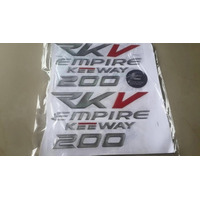Kit Emblemas Calcomania De Recina 3d Empire Rkv 200 Motos