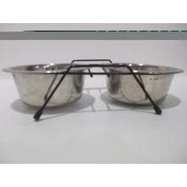 Dispensador De Comida Y Agua Para Perros En Acero Inox