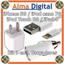 Kit 3en1cargador Pared Carro Usb Iphone5 Touch5 Ipad4 Nano7