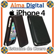 Estuche Cuero Iphone 4 4s Forro Protector Negro Rosado Blanc