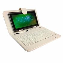 Forro Estuche Tablet 7 Cuero Blanco + Tecla + Cable Otg