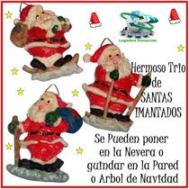 Hermoso Trio De Imanes De Santa Navideño Nevera O Colgar