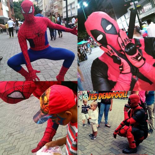 Alquiler Personajes Para Fiestas Deadpool Y Spiderman Marvel