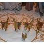 Figuras De Familia De 5 Llamas En Bronce Animales.