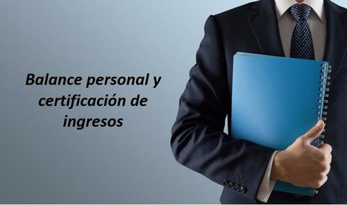 Balance Personal Y Certificacion De Ingresos