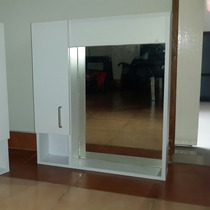 Mueble De Baño Blanco Con Espejo Y Almacenamiento Oferta