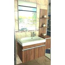 Mueble De Baño Con Lavamanos Y Espejo, Cerezo Con Stripes