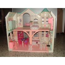 Mansión Casa De Barbie Con Accesorios En Buen Estado