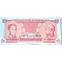 1989 21 De Septiembre C8 Billete De 5 Bolívares
