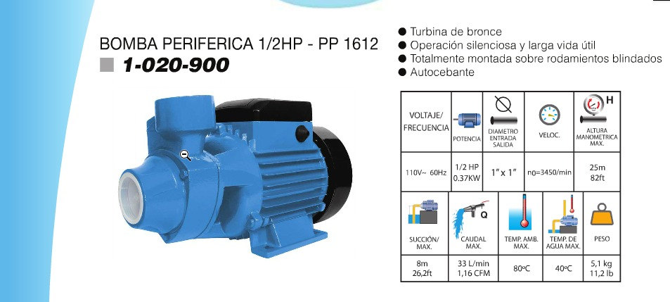 Bomba de agua el ctrica perif rica 1 2hp garant a y tienda for Bomba de agua electrica