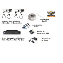 Combo Kit Dvr 8ch 4 Cámaras Bala Cable Fuente Video B Conect