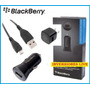 Cargador Blackberry Original 3 En 1, Pared Carro Usb Blister