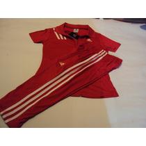 Conjunto Damas Franela C Pantalon Capri Color Rojo . Adids