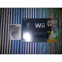 Wii Negro Edicion New Mario Bross Con 2 Juegos Originales