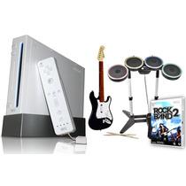 Consola Nintendo Wii + Chip + Guitarra Y Bateria Rock Band 2