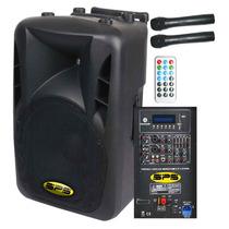 Corneta Amplificada Sps M15abt 600w Bateria 2 Mic Bluetooth