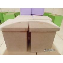 Cajitas Alcancias Mdf En Crudo Para Cotillón 10 X 10 X 13cm