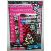 Fiesta Monster High Set De 3 Marcadores, Regla Y Minilibreta