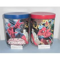 Potes Con Tapa Spiderman, Cars, Vengadores,y + Para Cotillón