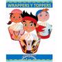 Kit Imprimible Jake Piratas Cupcake Wrapper Topper Capacillo