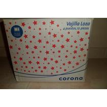 Combo Navideño Vajilla Loza Corona -12pzs / Ensaladera -5pzs