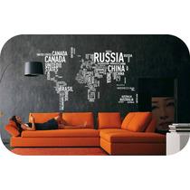 Vinilos Decorativos Mapa Mundi Autodhesivos-paredes