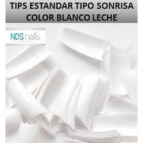 100 Tips O Uñas Estandar Tipo Sonrisa Blanco