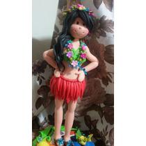 Hermosa Muneca Hawaiana. Hecho En Masa Flexible. 27 Ctms.