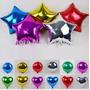 Globos Metalizados Unicolores, Estrellas, Redondos Corazones