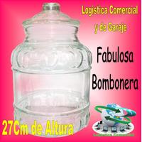 Hermosa Bombonera De Vidrio 27cm De Altura Dulces Galletas