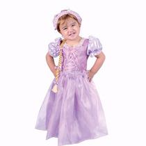 Vestido Disfraz Princesa Rapunzel Bebe Con Trenza