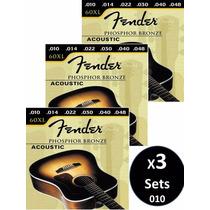 3 Sets Cuerdas Fender Para Guitarr Electro-acustica 010 60xl