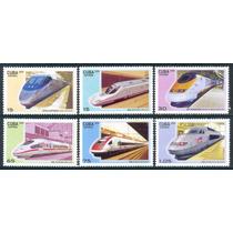 Estampillas Cuba De 2009 Serie 6 Valores - Trenes