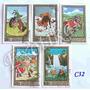C32 Estampillas Mongolia 5 Valores Folklore Tradiciones