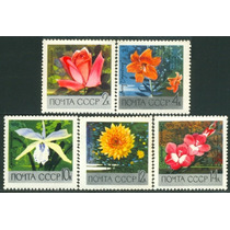 Estampillas De Rusia Serie 5 Valores De 1969 Flores