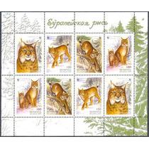 Estampillas Bielorusia 2 Series En Hoja Wwf´2000 Gato Lynx