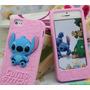 Forro Goma Estuche Stitch Rosado Disney Iphone 4 4s
