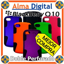 Forro Doble Perforado Blackberry Q10 Estuche Funda Carcasa