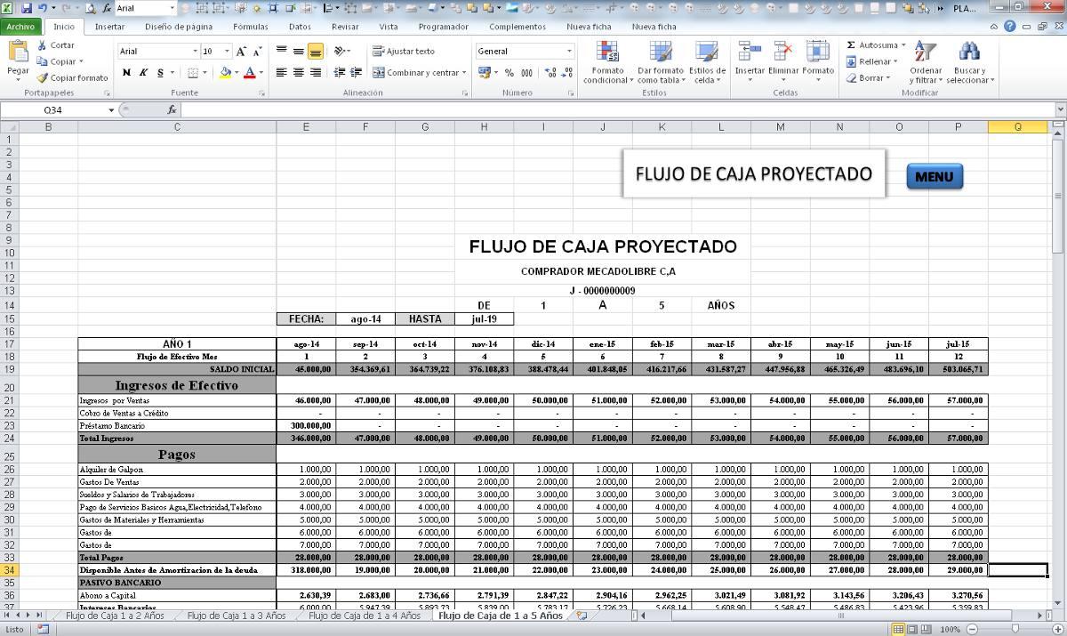 Único Plantilla Proyectada De Flujo De Caja Viñeta - Ejemplo De ...
