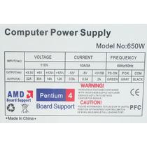 Fuente De Poder Computadora Atx 650w 20/24 Pines Intel Amd