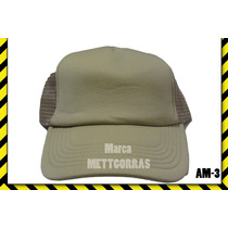 Gorra Kaki De Malla Unicolor Con Frente De Color, Estampar