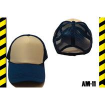 Gorra Azul De Malla Frente Blanco Para Sublimar