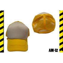 Gorra Amarilla De Malla Frente Blanco Para Sublimar
