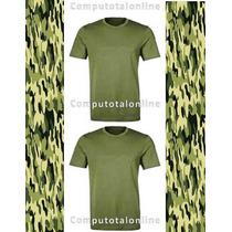 Franelas Verdes Militar 100% Algodon*