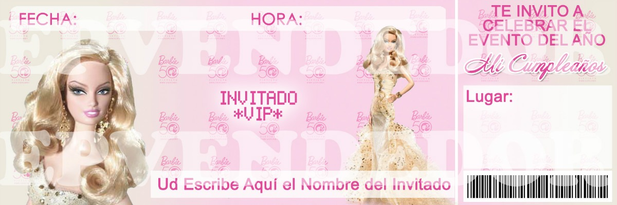 Tarjetas De Invitación De Barbie Imagui