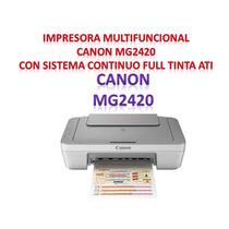 Impresora Mult Canon Mg2420 Con Sistema Continuo Full Tinta